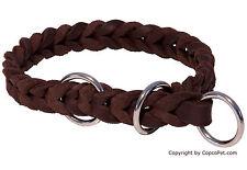 CopcoPet - Hundehalsband Fettlederhalsband Lederhalsband mit Zugstop Ring