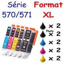 Kit de 10 cartouches d'encre compatibles 570 571 XL pour imp. Canon Pixma TS6052