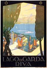 TV02 Vintage 1920's Italian Italy Riva Lake Garda Travel Poster A1 A2 A3
