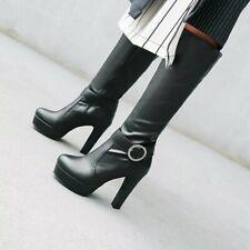 Women's Buckle Decor Block Heel Round Toe Platform Knee High Riding Gothic Boots