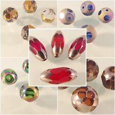♥ grande polie séquoia perles de verre ovale rond rainbow argent Golden ♥