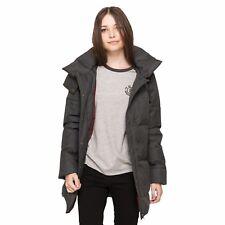 cappotto lungo da donna nero Element giacca invernale casual moda con cappuccio