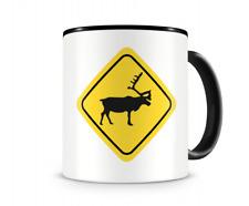 Rentiere Warnschild Tasse Kaffeetasse Teetasse Kaffeepott Kaffeebecher Becher