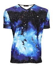 Homme Bleu Galaxie Espace panets Cosmos col V imprimé T-shirt T-shirt