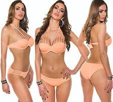 Push-Up Bügel Bikini Bandeau Neck Träger Tankini Brazil Badeanzug Beachwear L42
