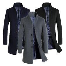 Mens Wool Coat Long Jacket Outerwear Overcoat Black Navy Grey