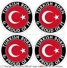 "Turquía turco nacido & orgulloso Turkiye 50mm (2 "") bumper-helmet etiquetas engomadas, calcomanías X4"