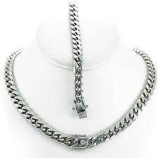 10MM Men's Silver Finish Close Tight Miami Cuban Chain Bracelet Triple Box Lock