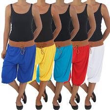 Da Donna Estate 3/4 Capri HAREMS Aladin Pluder Pump Pantaloni Pantaloni Lunghi Cavallo Basso Pantaloncini Bermuda Chino