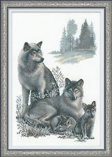 "Wolf Family Cross Stitch Kit - Riolis - 15.75"" x 23.5"" (R100/021)"