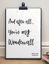 Oasis Wonderwall Personalised Lyrics Print   A4 Poster   Anniversary Gift Him