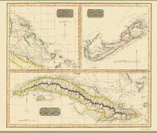 Old Caribbean Map - Bahamas, Bermuda and Cuba Islands - Thomson 1829 - 23 x 27