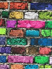 COLOUR BRICK Wall Effect Fabric Curtain Cotton Material color bricks -140cm wide