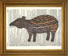 WILD ANIMALS: CHOICE OF 4 PRINTS - Bear, Meercats, Lynx, Tapir Dictionary Art
