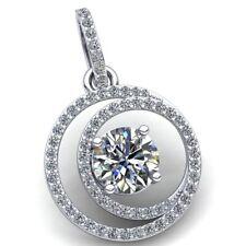 Natural 1ct Round Cut Diamond Ladies Solitaire Circle Pendant 10K Gold