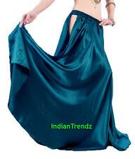 Teal Satin Panel Full Circle Skirt Belly Dance Tribal Slit Gypsy Oriental