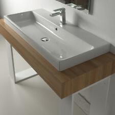 Lavandino Lavabo Moderno Design Consolle Basic da appoggio in ceramica bianco