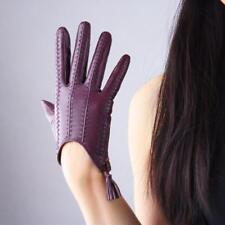 Echtleder Handschuhe mit Reißverschluss Kurz Damen Touchscreen