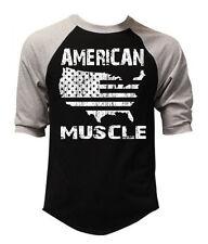 New Men's American Muscle Map Baseball Raglan T Shirt Workout MMA Gym 911 july 4