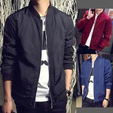 Fashion Autumn Mens Casual Long Sleeve Bomber Baseball Jacket Zipper Short Coat