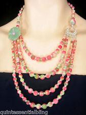 Handmade Contemporary Multi Strand Multi Layer Rainbow Jade Necklace