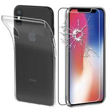 Pour Apple Iphone X - Coque Gel SiliconeTRANSPARENT + 1 film verre trempé