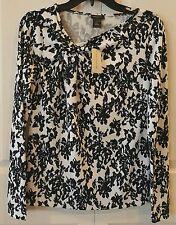 Women's Ann Taylor Top Black/White Knit Polyester Blend Sz. S M L or XL
