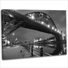 Newcastle Quayside Tyne Bridge Canvas Print Framed Photography Art Picture B&W
