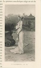 ANTIQUE BEAUTIFUL WOMAN WHITE GOWN DRESS HAT CANON MILITIARY MINIATURE ART PRINT