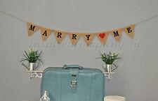 Marry Me Proposal Banner Burlap Bunting Hessian Wedding Garland Bride Propose