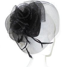 Cappello cerimonia elegante fascinator piume veletta nero TANTI COLORI art D0609