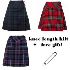 """New Ladies Scottish 20"""" Knee Length Kilt Range of Tartans All Size - FREE GIFT"""
