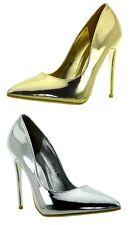 Scarpe donna eleganti decolte tacchi alti a spillo argento vernice oro lucide