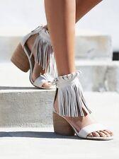 Womens Sandals Mid Heel Chunky Tassel Fringe Ankle Gladiator Roma Open Toe Shoes