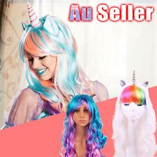 Unicorn Wig Pony Rainbow Bookweek Cosplay Flutter party Headband Costume Wigs