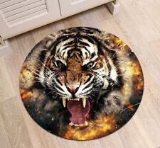 Non-Slip Bathroom Rug Mat Home Bedroom Carpets Round Floor Mat -Anger Tiger Roar
