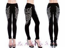 VOCAL CRYSTAL BLACK PRINT & STONE WING BLING LEGGINGS YOGA PANTS S M L XL