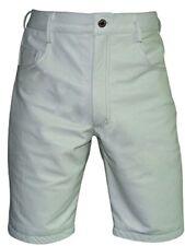 Hommes Long Short Véritable Cuir Blanc