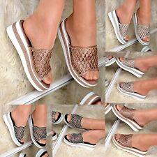 Ladies Flatform Wedges Diamante Mules Sparkly Flip flop Platform Sandals size