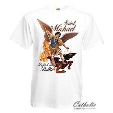 Saint Michael Defend us in Battle Catholic Christian White T Shirt Archangel
