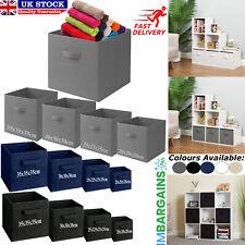 Foldable Square Canvas Storage Collapsible Folding Box Fabric Cubes Kids Toys UK