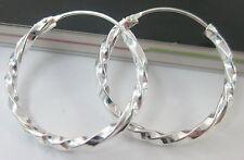 """""""BUY 4 GET 1 FREE"""" Real sterling silver 20mm TWIST sleepers HOOP earrings - GIRL"""