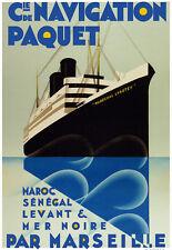 Affiche compagnie maritime de Navigation Paquet - Maroc Sénégal