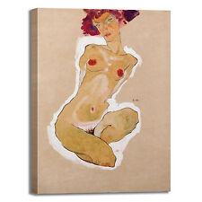 Schiele ragazza nuda accovacciata quadro stampa tela dipinto telaio arredo casa