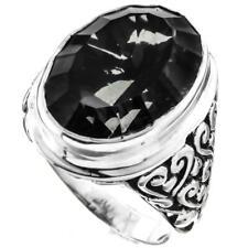 Bold Black Mystic Quartz Scroll Filigree 925 Sterling Silver Ring, US 7, 9