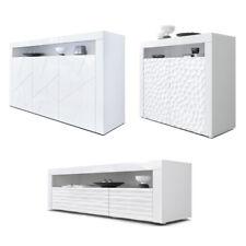 Sideboard TV Board Kommode Schrank Lowboard Valencia in Weiß mit 3D Fronten