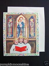 #E496- Unused Jean Young Xmas Greeting Card 3 Girls Singing Carols in Church