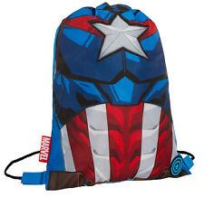 Boys Marvel Captain America Drawstring Gym Bag Avengers Sports Swimming PE Kit