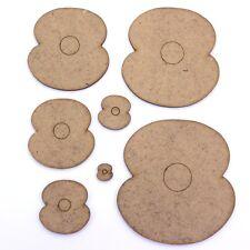 Poppy Craft Shape - 2 Petal, Various Sizes, 2mm MDF Wood. Poppies, Flower