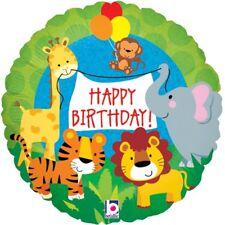 "Jungle Animal Happy Birthday 18"" Foil Helium Balloon | Party | Monkey Lion Tiger"